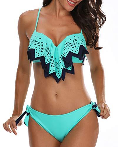 Holipick Women Push Up Flounce Padded Bikini Set Two Piece Bathing Suit Blue S