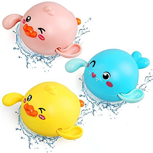 NEWSTYLE Bebé Baño Juguetes de Natación, Juguetes Bañera Juguetes Niños 2 3 4 Años Juguetes, 3 Baño Bebe Patos Sello de Juguete a Cuerda Juguetes Piscina para Bebe Niños