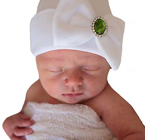 Melondipity Birthstone Newborn Hospital Hat - White Newborn Girl Hat with Bow (Green - August Peridot)