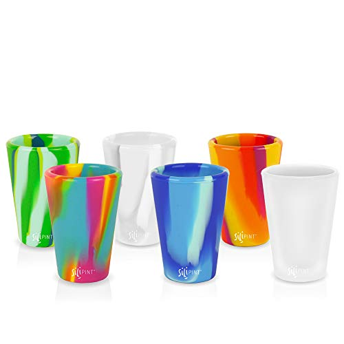 Silipint Silicone Shot Glasses Set, Unbreakable, Reusable, Freezer-Safe, Fun Party and Game Shot Glasses, 1.5 Ounces (6-Pack, Tie-Dye Variety)