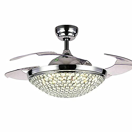 Ventilador de techo de cristal de lujo con lámpara regulable, 3 colores, aspas retráctiles, luz LED 42 intch mando a distancia 3 velocidades