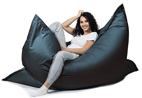sunnypillow XXL Sitzsack, Riesensitzsack Outdoor & Indoor 180 x 145 cm mit 380L Styropor Füllung Sessel für Kinder & Erwachsene Sitzkissen Sofa Beanbag viele Farben und Größen zur Auswahl Schwarz