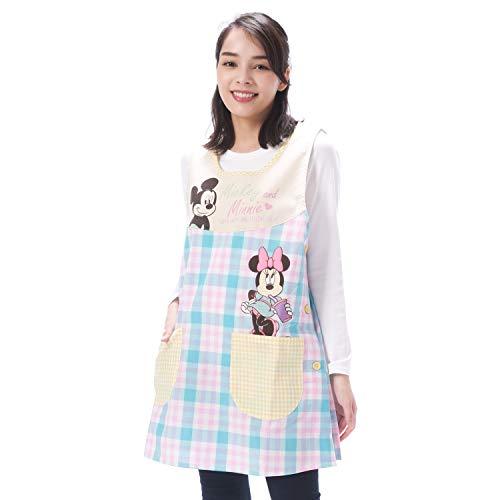 NISHIKI[ニシキ] キャラクターエプロン《ミッキー&ミニー》幼稚園の先生や保育士さんに【選べるカラー/大きいサイズも】速乾 シワになりにくい 動きやすいショート丈 さらりと軽い 綿ポリ ポケット付き レディース 背付エプロン apron 【ピンク×