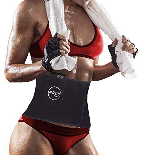 Ceinture de sudation femme et homme, gaine amincissante idéale pour maigrir et avoir un ventre plat, ceinture abdominale minceur pour le sport avec pochette téléphone intégrée + housse de transport