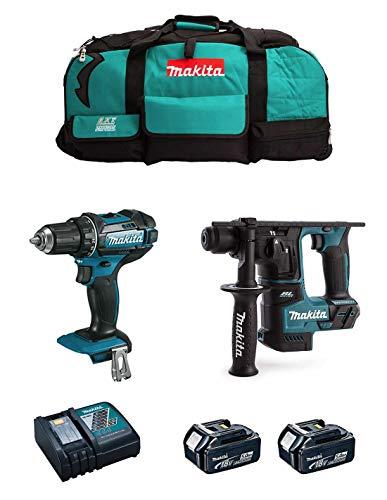 MAKITA Kit MK201 (Taladro Atornillador DDF482 + Martillo DHR171 + 2 Baterías de 5,0 Ah + Cargador + LXT600)