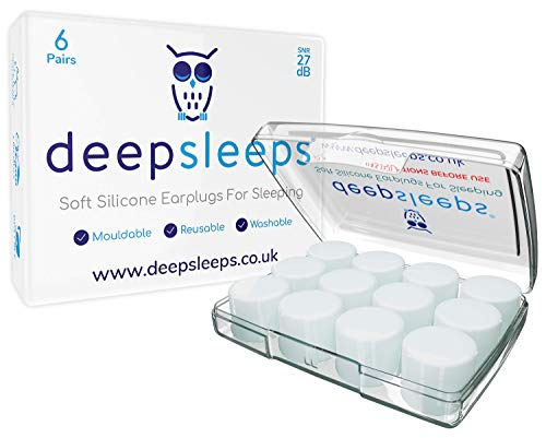 Deep Sleeps Soft Silicone Ear Plugs for Sleeping 6 Pairs Reusable Noise Cancelling Earplugs, Custom Fit, The Best Ear Plugs for Sleeping, For Light Sleepers, Fall Asleep Faster, Earplugs For Sleep