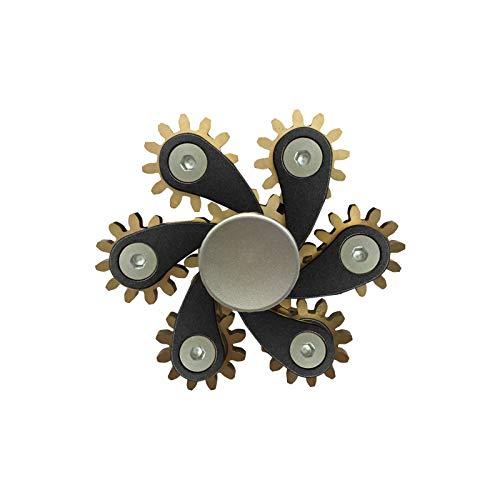 jieGorge Juguete Educativo, Hardware Six Gear Spinning Fingertip Spinning Top Toy Descompresin, Juguetes y Pasatiempos (Negro)