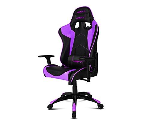 Drift DR300BP - Silla Gaming profesional, polipiel, reposabrazos 3D, piston clase 4, asiento basculante, altura regulable, respaldo reclinable, cojines lumbar y cervical, color negro/morado