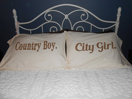 """Country Boy"" &""City Girl"" Couple Pillowcases, Bedroom Decor"