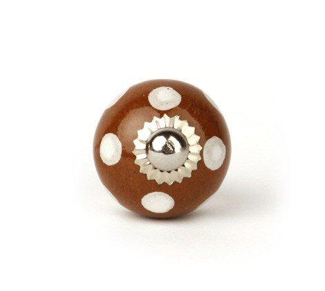 Surepromise Bouton de Meuble en céramique pour Chambre d'enfant Motif Pois Marron/Blanc