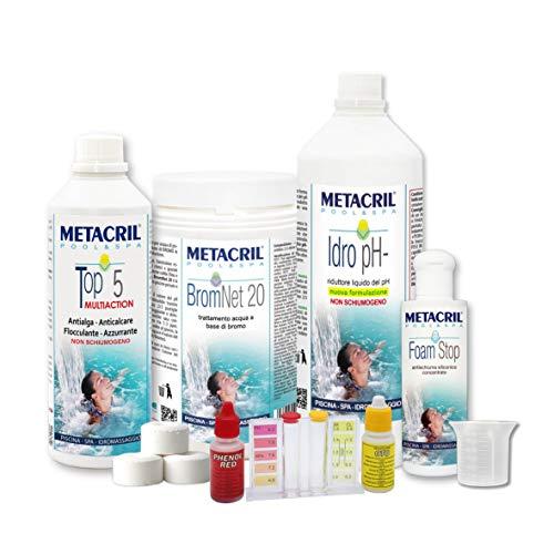 Metacril Easy Kit BROMO para hidromasajes y piscinas. Tratamiento completo a base de bromo en pastillas de 20 g. Ideal para Jacuzzi, Intex, Bestway, Dimhora.