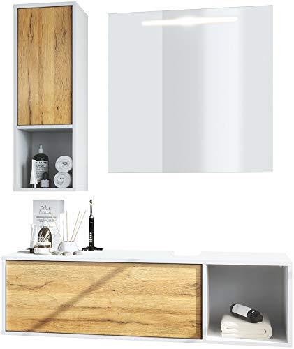 Vladon Badmöbel Komplettset La Costa, Korpus in Weiß matt/Fronten in Eiche Natur, mit LED Spiegel