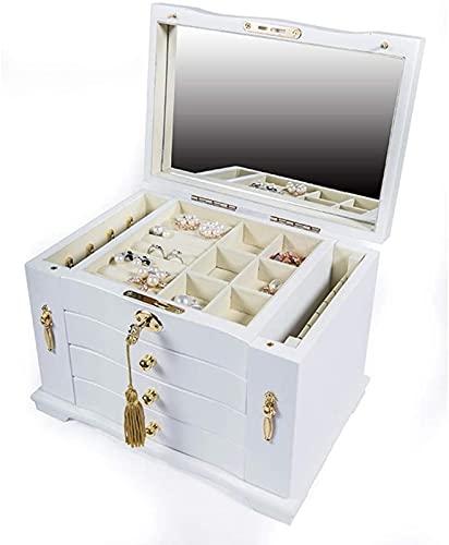 POUAOK Joyero para Mujeres, joyero de Madera de 3 Niveles, Organizador de Joyas con Espejo Grande, Organizador de Almacenamiento de Maquillaje con Cerradura.(Color:White,Size:)