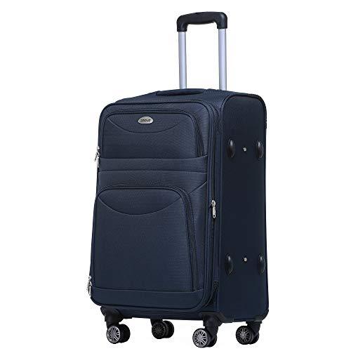BEIBYE 8009 TSA Schloß Stoff Trolley Reisekoffer Koffer Kofferset Gepäckset (Blau, M)