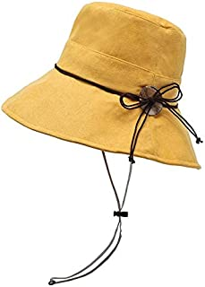JJXSHLFL Fisherman Hat Female Summer Wild Sun Visor Rope Button (Color : Yellow)