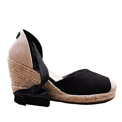Angkorly - Chaussure Mode Sandale Espadrille de Plage Bohème Romantique Femme tressé avec de la Paille lanière Talon Compensé 8 CM - Noir 4 - FB-152 T 39