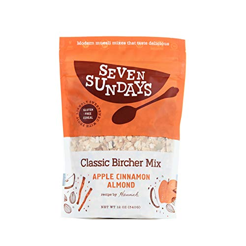 Seven Sundays Classic Bircher Apple Cinnamon Muesli Cereal {12 oz. pouch, 1 Count} | Gluten Free Certified | Non GMO | No Added Sugar | Vegan | Kosher