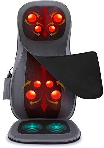 Naipo Massagematte Shiatsu Massageauflage Rückenmassagegerät Elektrisch Massagegerät mit Wärmefunktion Kneten 3D Rollmassage Vibration