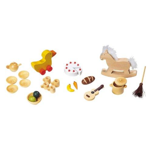 23 En Bois Pièce Maison De Poupées Marionnette Accessoires Nourriture Pots Moule Jouets