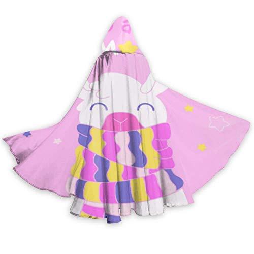 N\A Lama Verwandte Rosa Nette Weiße Lama Cape Mantel Frauen Herren Mantel Kapuze 59 Zoll Für Weihnachten Halloween Cosplay Kostüme