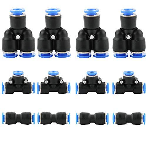 CESFONJER 12 Stück Luft Schnellkupplung Kit Kupplung, Pneumatische Steckverbinde, Generisch Pneumatisch Push In Fitting schnelle Montage (6mm: Y + T + I Typ Combo)
