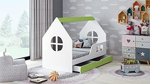 BDW Cama infantil con cajón verde, diseño moderno con bordes seguros (2, 160 x 80)