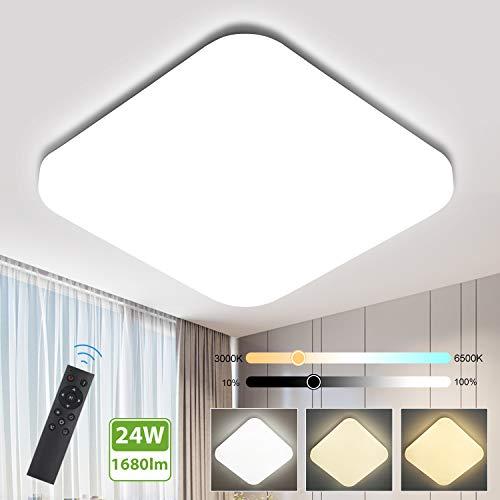 Oeegoo Plafón LED regulable 24W, 1680Lm sin parpadeo Lámpara de techo LED...