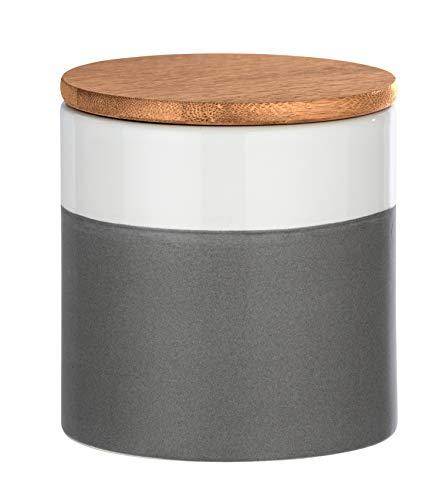 Wenko Aufbewahrungsdose Malta 0,45 l - Vorratsdosen, Frischhaltedose mit Bambusdeckel und Silikonring luftdicht und aromafrisch Fassungsvermögen: 0,45 l, Keramik, 10 x 10 x 10 cm, mehrfarbig