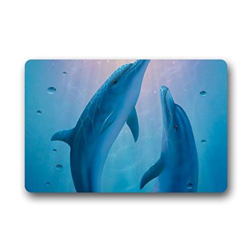 Doubee générique Dolphin Bleu Paillasson Premium Tapis Anti-Poussière rectangulaire antidérapant Porte Tapis 60 cm x 40 cm, Tissu, E, 23.6\