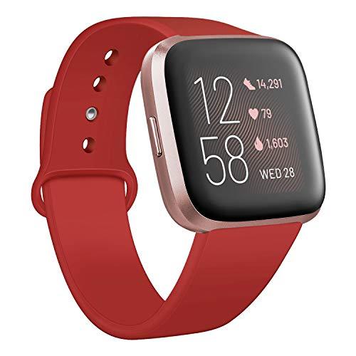 Deilin Armband für Fitbit Versa/Fitbit Versa Lite für Damen und Herren, Silikon Sport Armband Weiches Verstellbares Armband für Fit bit Versa Smartwatch (Rot, S)