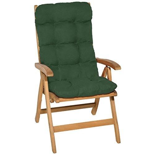 Beautissu Cuscino per Sedia a Sdraio Flair HL 120x50x8cm Extra Comfort per sedie reclinabili, spiaggine e poltrone - Verdone