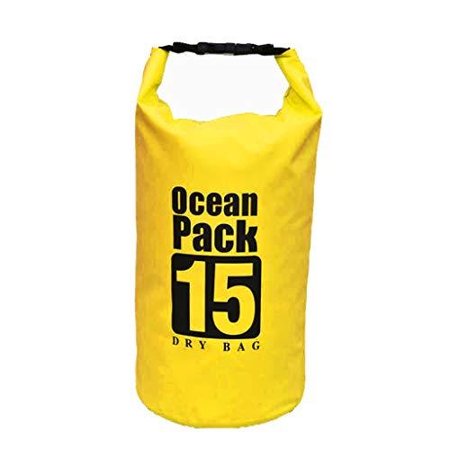 Yowablo PVC wasserdichter Packsack Sack Ocean Pack Schwimmboot Kajak Camping 15L (15L,Gelb)