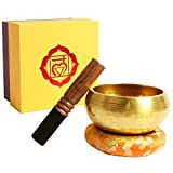 Klangschale, Premium Tibetische Klangschalen Set mit hochwertigem Holz Klöppel und Himalaya Kissen,...