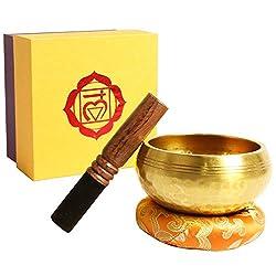 Klangschale, Premium Tibetische Klangschalen Set mit hochwertigem Holz Klöppel und Himalaya Kissen, Perfekt für Meditation Entspannung, Stress und Angst Relief, Schulen Therapien (9,5 CM)