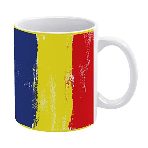 happygoluck1y Taza de cerámica pintada con pinceles, diseño de bandera de Rumania, para hombres, mujeres, amigos, niños, niñas