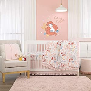 Disney The Little Mermaid Ariel Pink, Coral, Teal & White 6Piece Nursery Crib Bedding Set – Comforter, Two Fitted Crib Sheets, Dust Ruffle, Baby Blanket & Changing Pad Cover, Pink, Coral, Teal, White