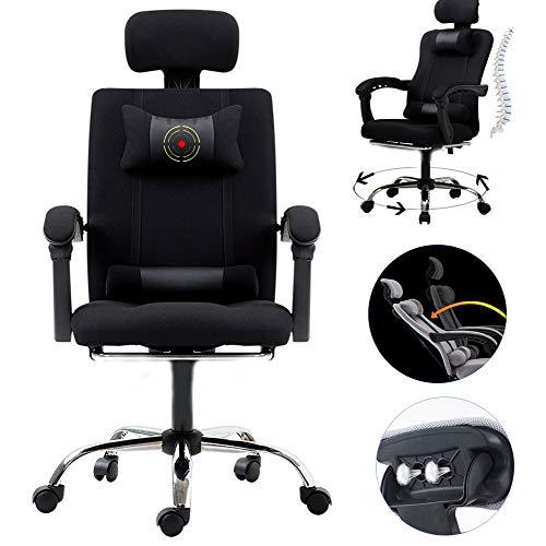 LLCA - Sillón para videojuegos y silla de oficina, ergonómica, reclinable, altura ajustable, tejido de malla para carreras, capacidad 150 kg