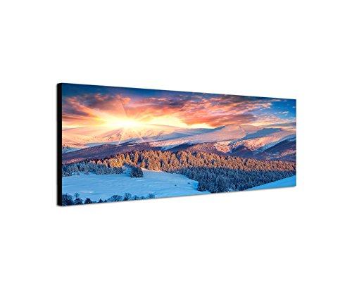 Quadro stampa su tela come Panorama in 150x 50cm montagne foresta neve nuvole al tramonto
