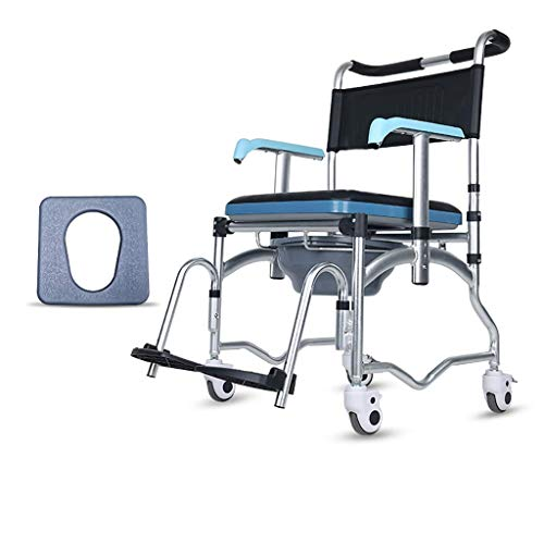 Multiple Function Commode Wheelchair Portable Folding Bathroom Shower Transport Chair Bedside Toilet Seat Detachable Bucket