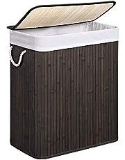 SONGMICS wasmand 100 L, wasbak gemaakt van bamboe, waskist met handvatten, deksel met clips, opvouwbaar, waszak afneembaar