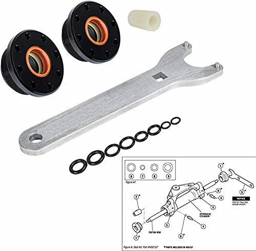 E-cowlboy HS5157 Front Mount Hydraulic Steering Cylinder Seal Kit with Pin Wrench for HC5340, HC5341-HC5348 HC5358 HC5365 HC5375 HC5394 HC5445