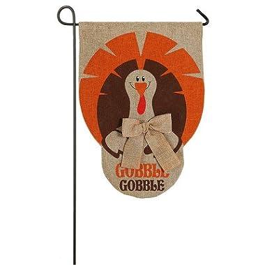 Evergreen Burlap Gobble Gobble Garden Flag, 12.5 x 18 inches