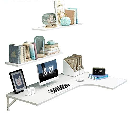 ZYQDRZ Bureau D'ordinateur Pliant d'angle, Table à Manger Murale du Sol Au Plafond Et établi, Y Compris étagère,Blanc,110 * 60 * 40cm/43 * 24 * 16in