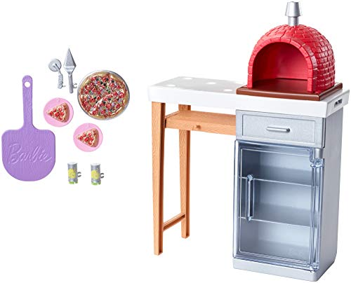 Barbie Outdoor Furniture Set with Brick Pizza Oven, Plus Food and Serving Pieces
