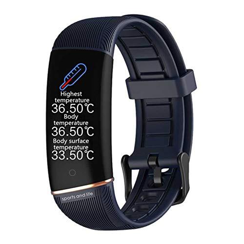 BFL E98 Medición De Temperatura De Reloj Inteligente, Rastreador De Fitness De Frecuencia Cardíaca, Podómetro, Monitoreo del Sueño, Mujeres Y Pulseras Inteligentes para Hombres,C