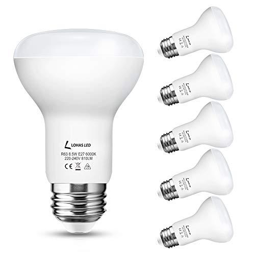 LOHAS R63 8.5W LED Reflektor, E27 LED Lampe, Kaltweiß 6000K, Ersetzt 65W Glühbirne/Halogenlmape, Reflektorlampe, 810LM, Nicht Dimmbar, 220-240V AC/DC, Leuchtmittel, 5er Pack