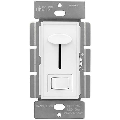 ENERLITES Interruptor regulador de intensidad deslizante, rueda de luz ajustable, basculante de encendido/apagado, un polo o de 3...