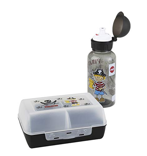 Emsa 518136 Kinder Set Trinkflasche + Brotdose, Motiv: Pirat, BPA frei, Material: Trinkflasche aus Tritan, bruchfest und unbedenklich, Brotdose aus Kunststoff