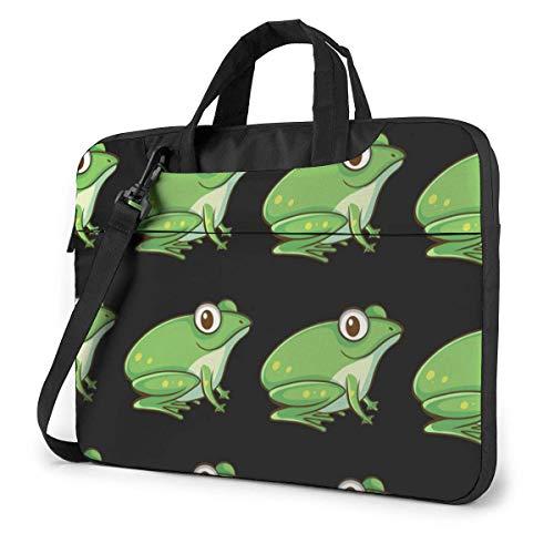 15.6 inch Laptop Shoulder Briefcase Messenger Green Frog Animals Pattern Tablet Bussiness Carrying Handbag Case Sleeve