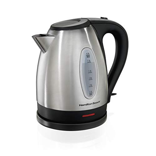 Hamilton Beach Electric Tea Kettle, Water Boiler & Heater, 1.7 L, Cordless, Auto-Shutoff and Boil-Dry Protection, Stainless Steel (40880)